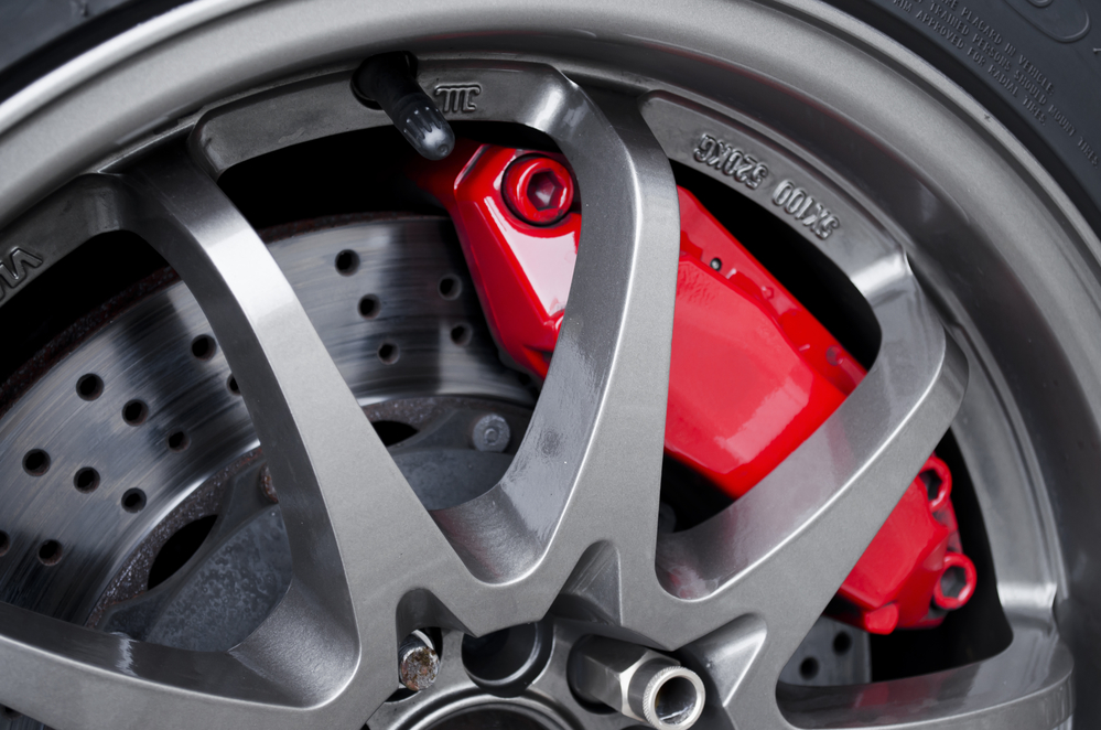 image of a car disk brake up close