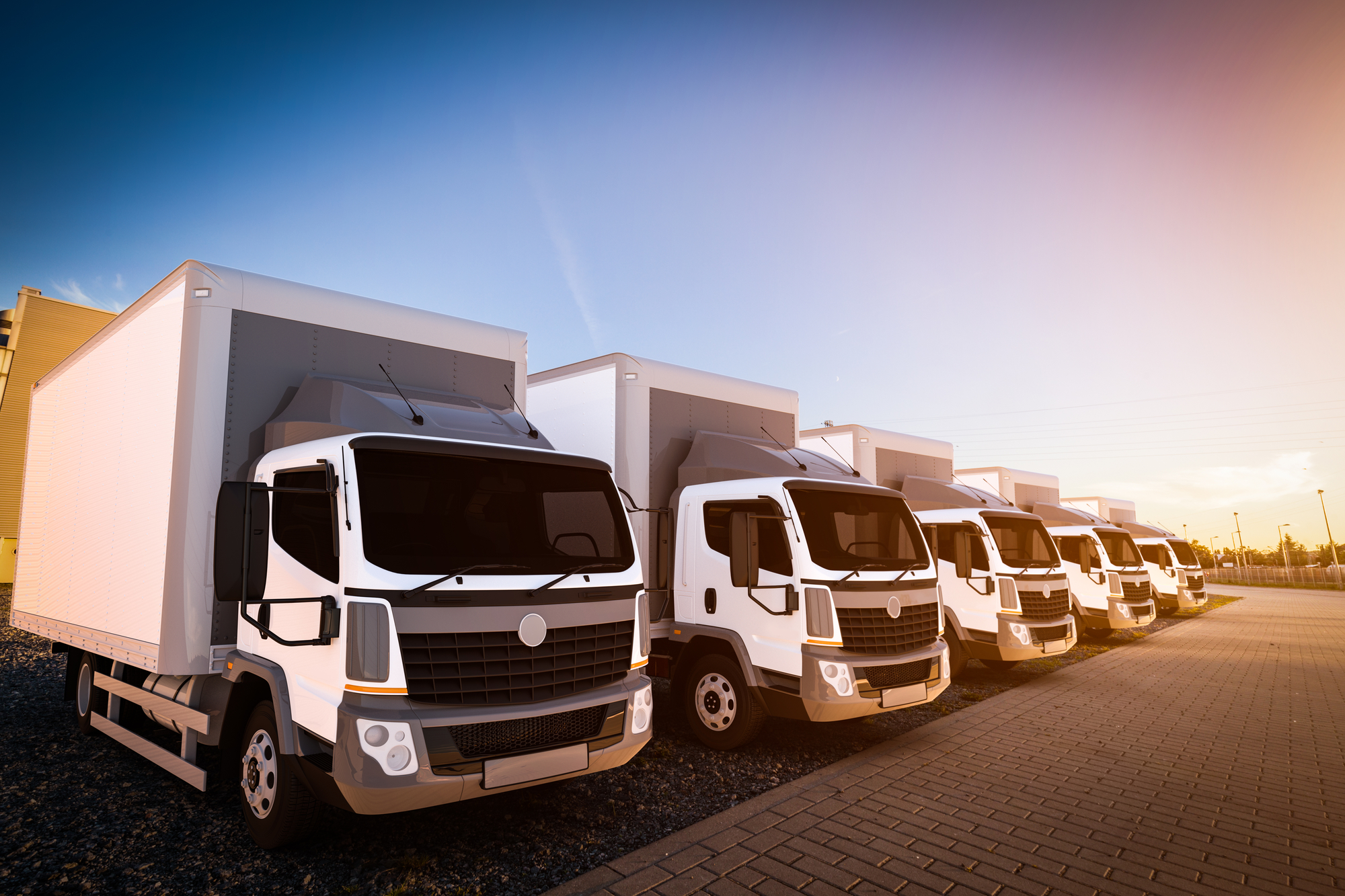 Fleet of commercial delivery trucks on cargo parking.
