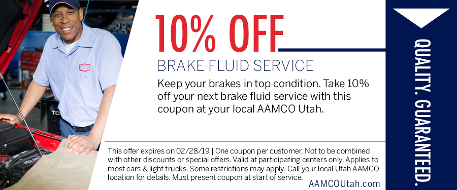 image - coupon offering 10% off brake fluid service showing guy standing next to open hood of a car