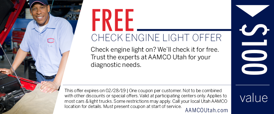 image - coupon for a free check engine light diagnostic showing a man standing next to an open hood of a car