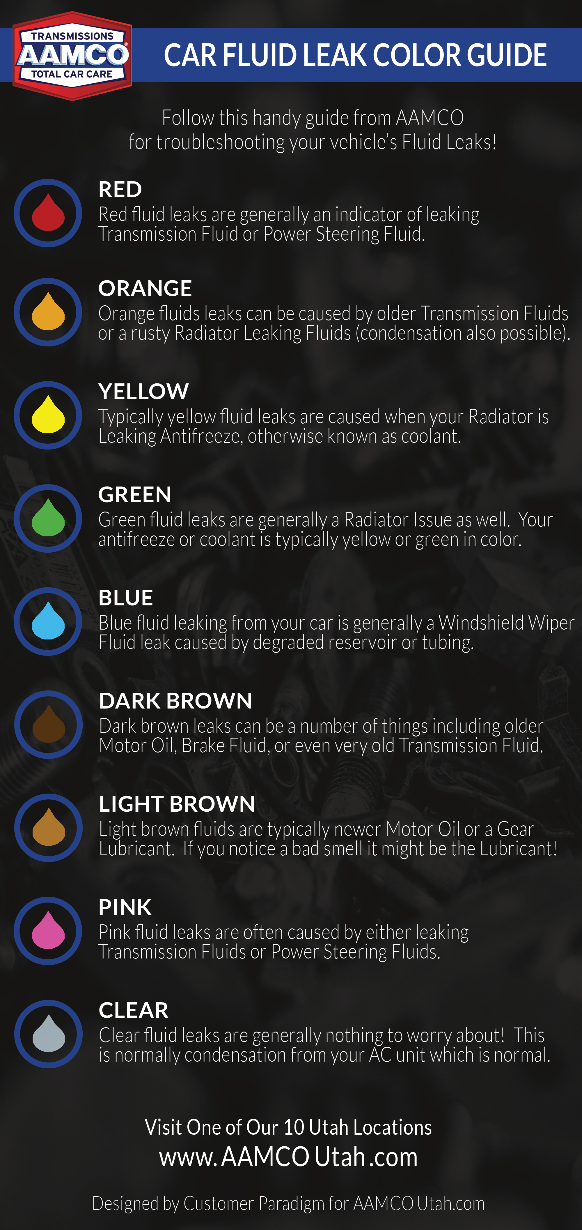 Image Of Aamco Utah Infographic On Car Liquid Leak Spill Color Guide