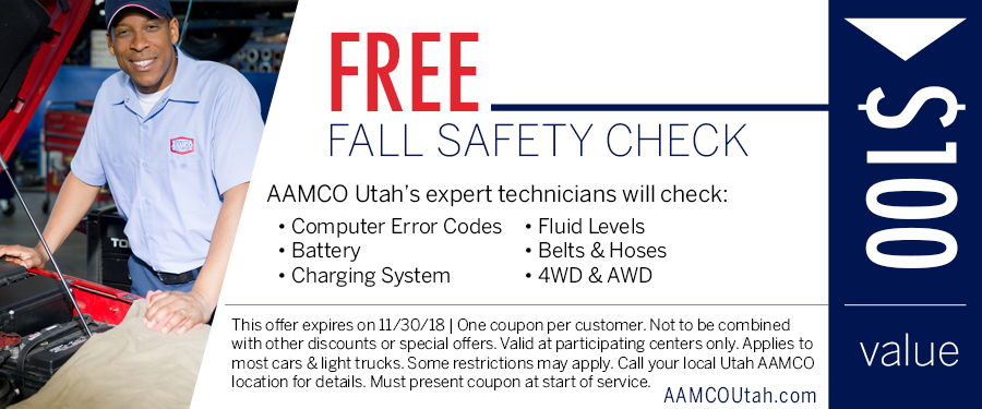 image - coupon for a free fall safety check showing a man standing next to an open hood of a car