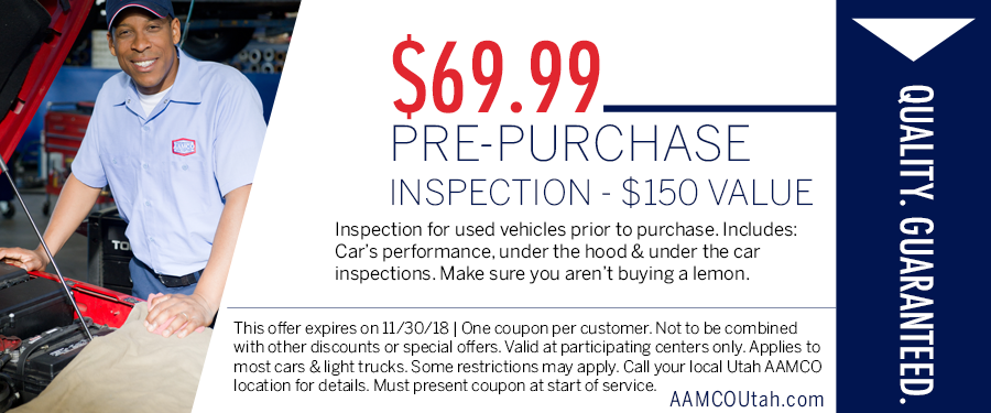 image - coupon offering a discount on prepurchase inspections for cars with a man standing next to an open car hood