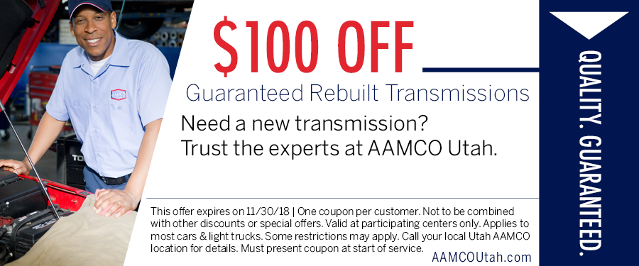 image - coupon offering $100 off rebuilt transmission showing guy standing next to open hood of a car