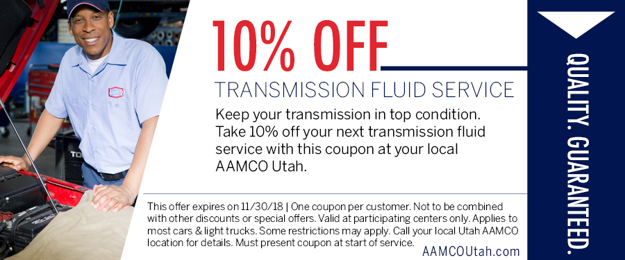 image - coupon for 10% off a transmission fluid service showing a smiling man next to open car hood